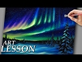 Acrylic Landscape Painting Lesson | Northern lights and night stars