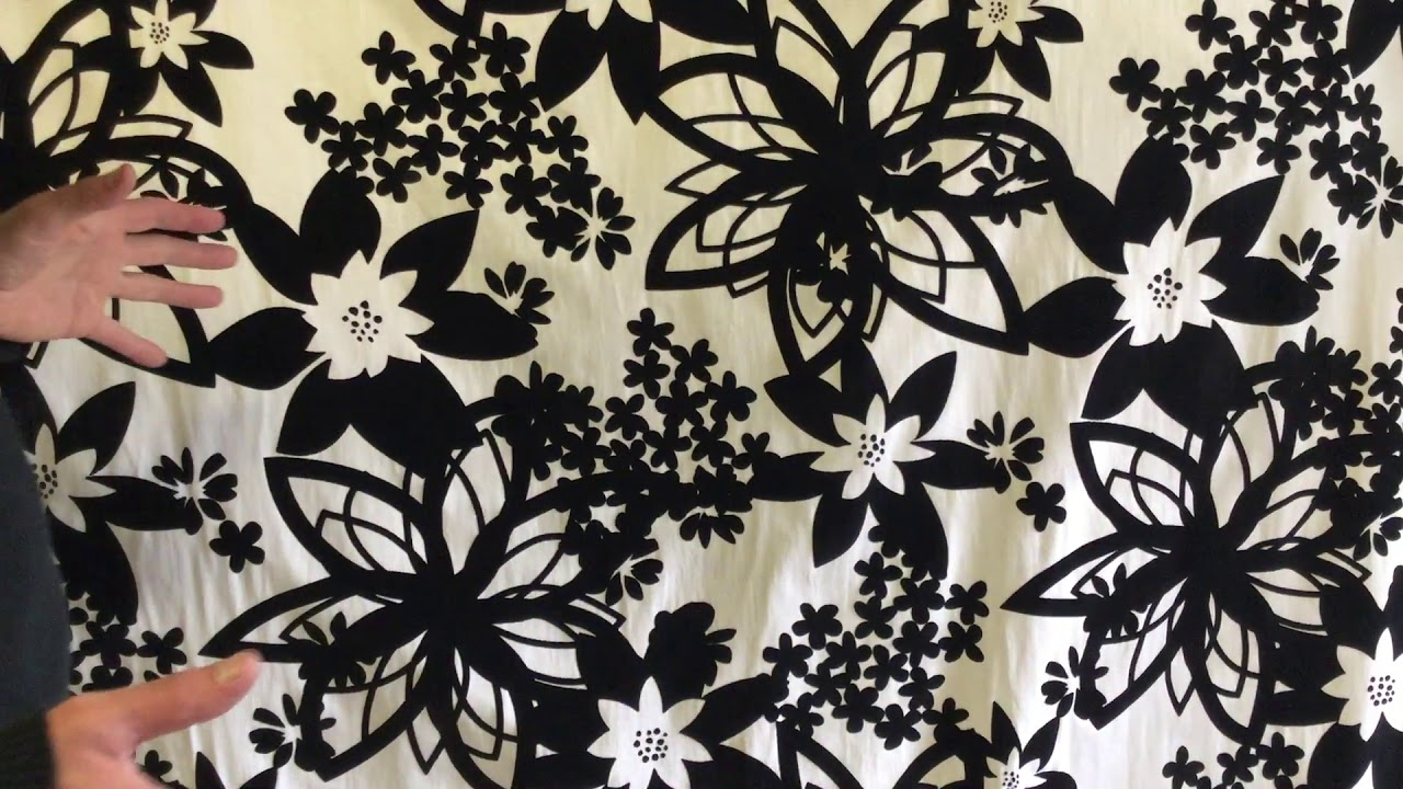 Black Velvet Floral On 100 White Cotton Canvas Curtain