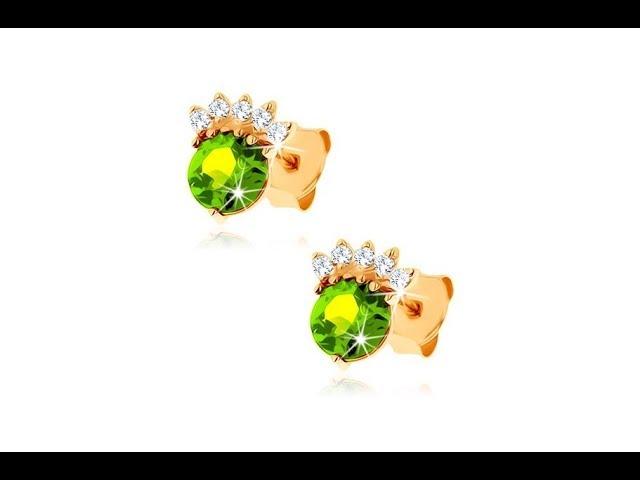 Šperky – Puzetové náušnice ve žlutém 9K zlat? - kulatý olivín zelené barvy, ?irá korunka