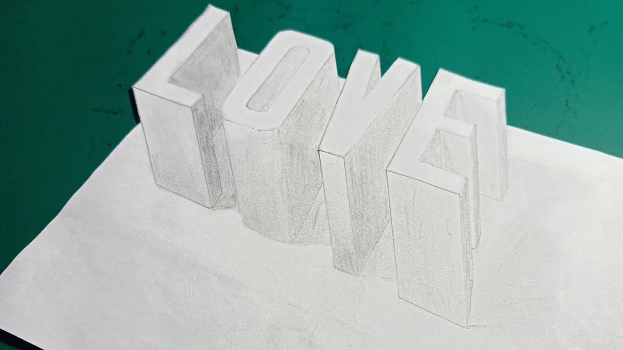 Vẽ chữ lOVE 3d nổi trên mặt giấy