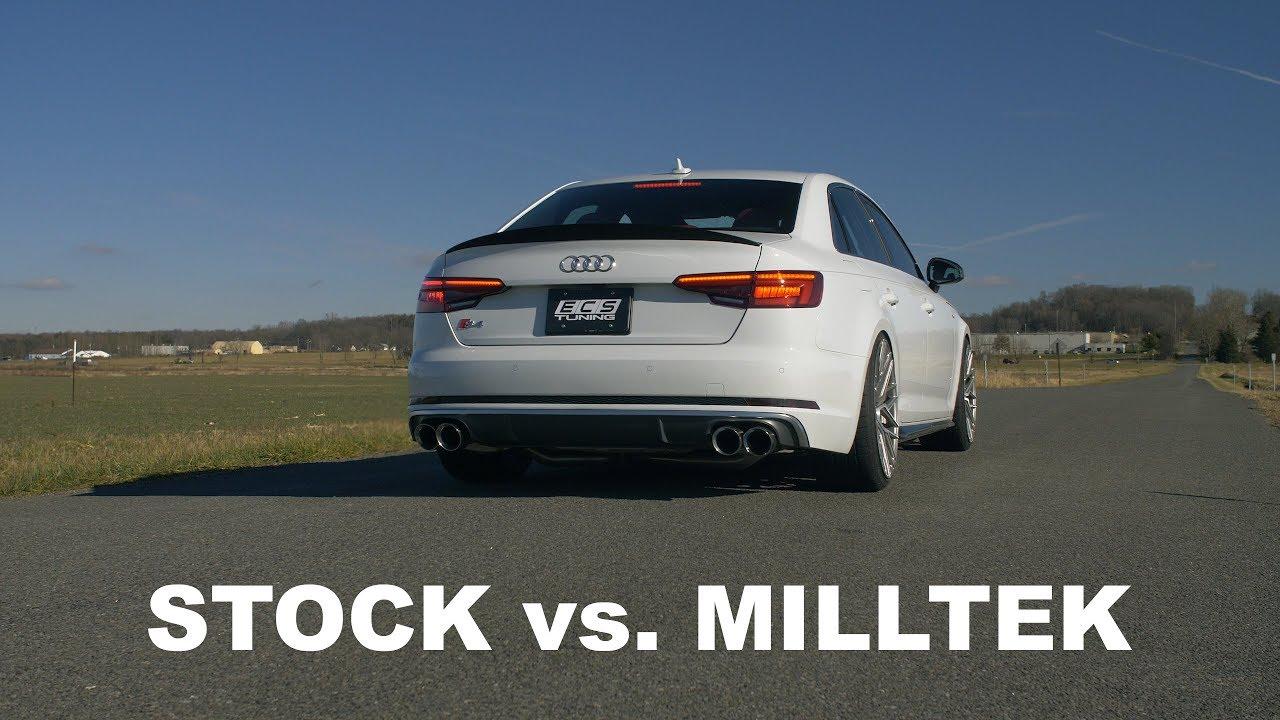 Audi B9 S4 Milltek Catback Exhaust Sound (vs  Stock)