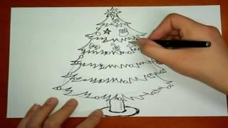 Уроки рисования, как нарисовать новогоднюю елку, видео для детей
