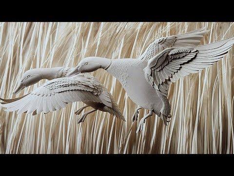 Бумажные скульптуры животных от Кэлвина Николлса