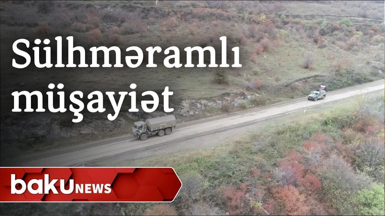 Rusiya sülhməramlıları Azərbaycan Silahlı Qüvvələrinin avtomobil karvanını müşayiət edir