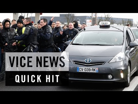 Tear Gas Fired at Taxi Drivers in Paris: VICE News Quick Hit