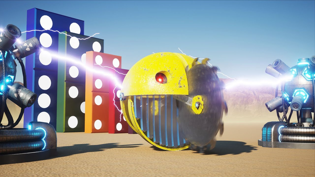 Robot Pacman VS Giant Dominoes Chain Reaction