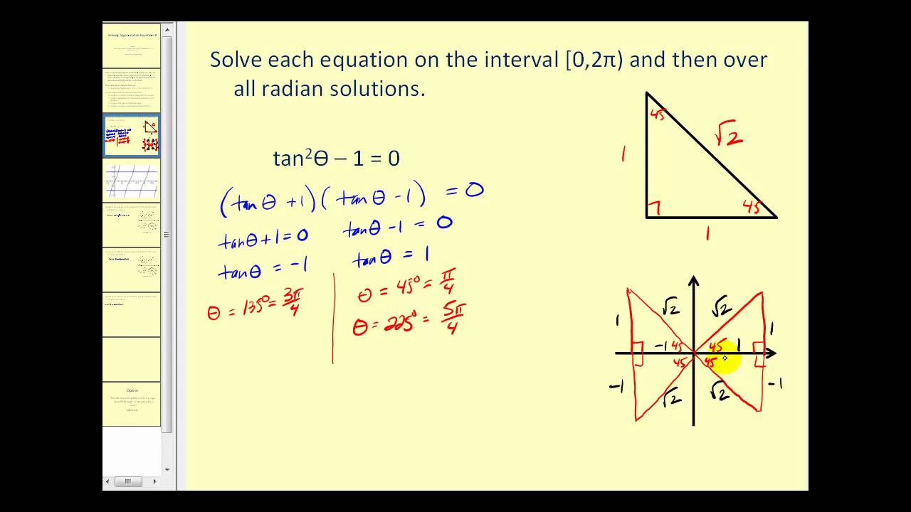 Factoring Trigonometric Equations (examples, solutions