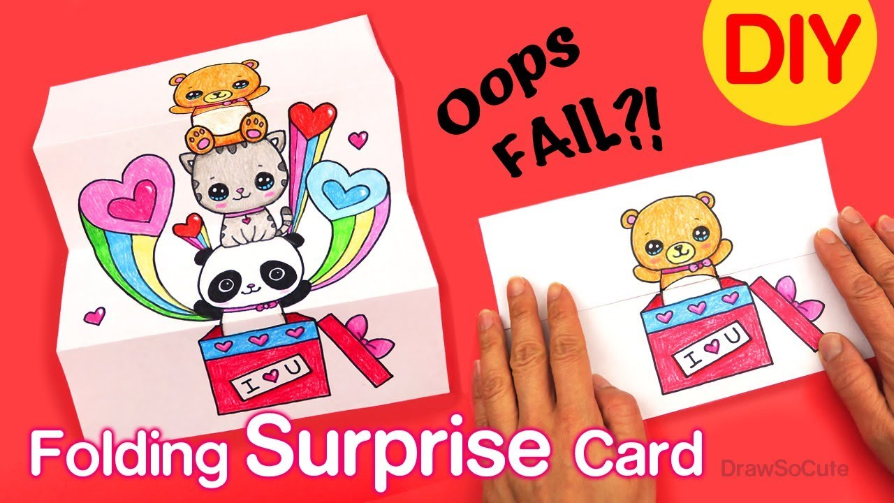How to Make a Folding Surprise Card   Cute Animals