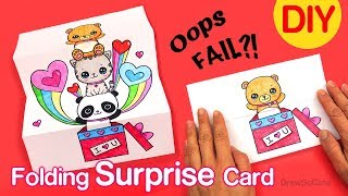 How to Make a Folding Surprise Card | Cute Animals