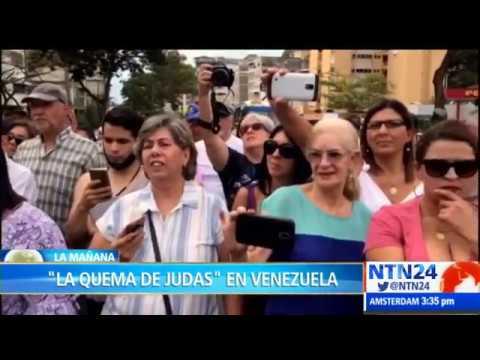 """Muñeco de Nicolás Maduro fue el protagonista en """"La quema de Judas"""" en Venezuela"""