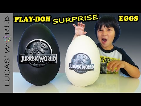 2 GIANT Jurassic World Play-Doh Surprise Eggs with Surprise Toys and Review