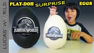 2 giant jurassic world play doh surprise eggs with surprise toys and review
