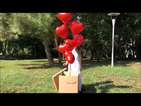 Kutu İçinden Çıkan Kalp Balonlar