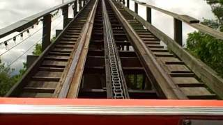 Knoebels - Ride On The Phoenix, Front Seat Ride Pov! Wow! Wooden Rollercoaster Woodie Roller Coaster