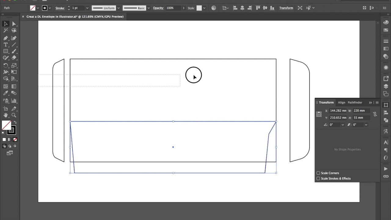 Create a DL Envelope Side Flap in illustrator 4 min - YouTube