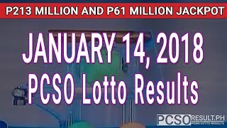 PCSO Lotto Results Today January 14, 2018 (6/58, 6/49, Swertres, STL & EZ2)
