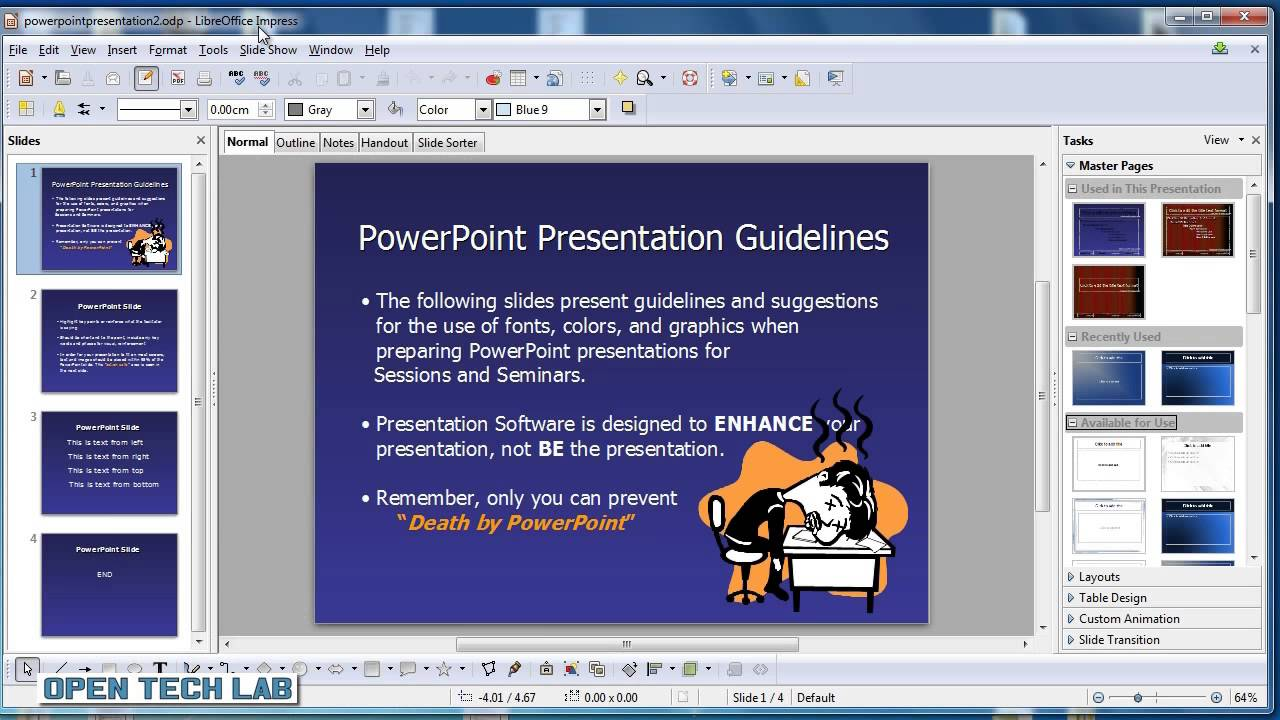 open  u0026 save powerpoint presentations in libre office impress