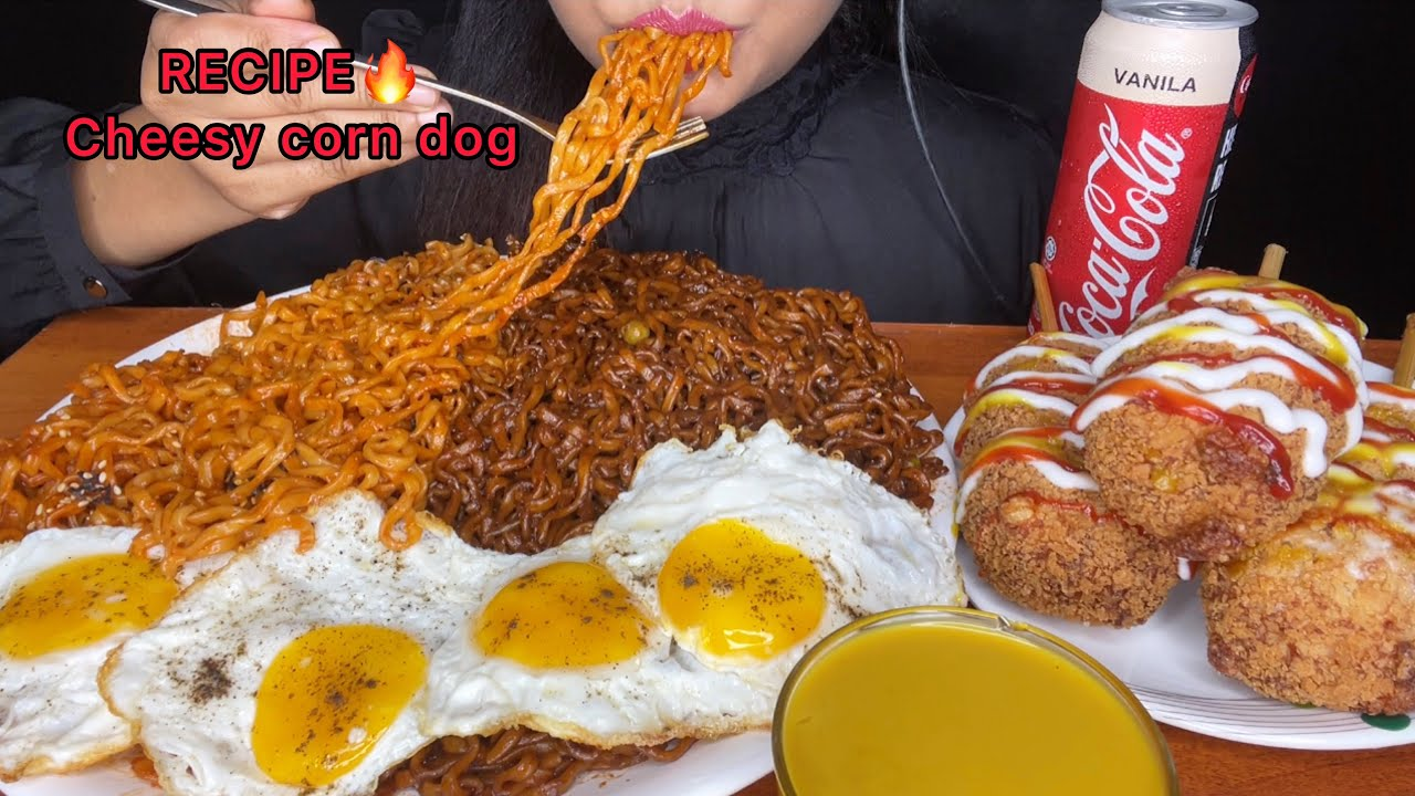 ASMR:CHEESY CORN DOG *RECIPE*EATING SPICY NOODLES,BLACKBEAN NOODLES,FRIED EGGS (FOOD EATING VIDEOS)
