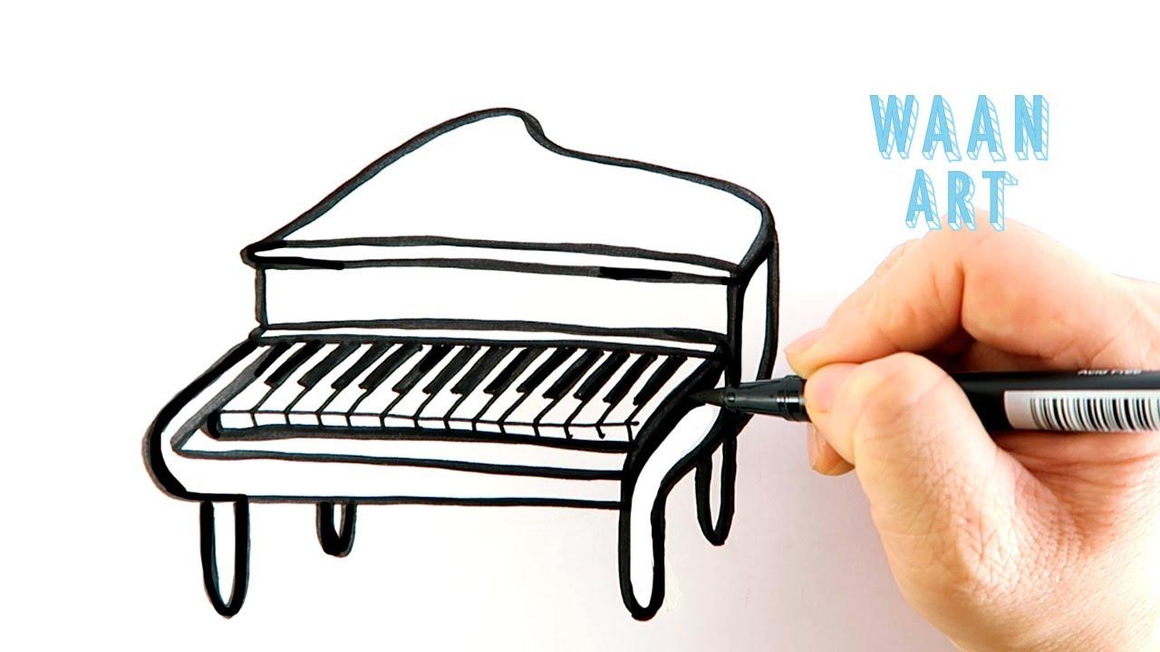Drawing cartoon | Classic Vintage Piano วาดรูปเปียโนคลาสสิค