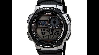 Casio AE1000W-1B Men's Gunmetal Plastic Rubber Band World Time Illuminator Stop Watch Review Video