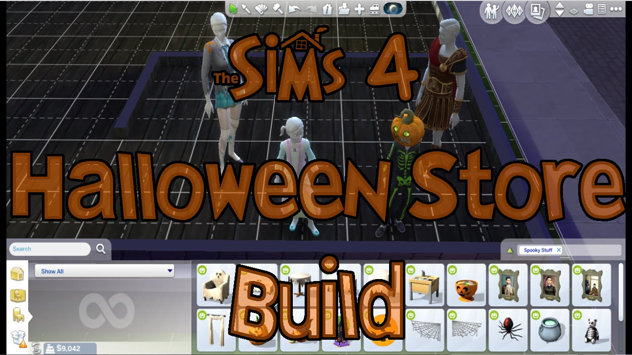 the sims 4 halloween store build using the sims 4 spooky stuff pack - Spooky Halloween Store