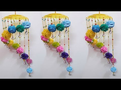 DIY jhumar/Door Hanging From waste polythene/Plastic carrybags|Best out of waste Jhumar craft idea