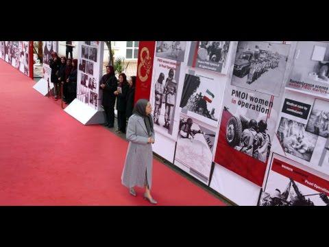 Maryam Radjavi visite l'exposition sur 150 ans de lutte des iraniennes pour la liberté et l'égalité