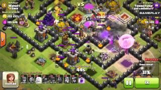 CLASH OF CLANS - Ataque do Lava Hound e Bruxa (Gameplay)