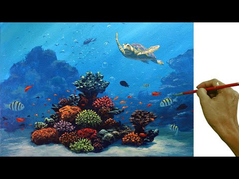 Acrylic Painting Tutorial / Sea Turtle With Underwater Corals