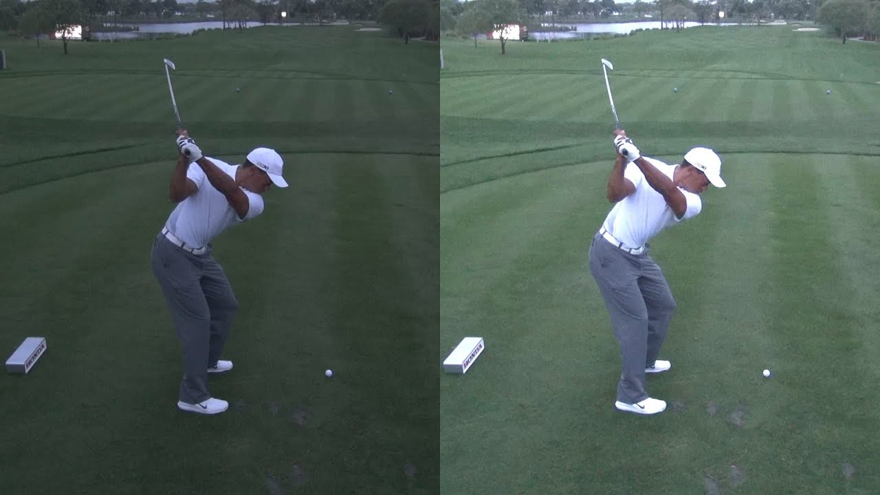 GOLF SWING 2013 - TIGER WOODS - LOW LIGHT ELEVATED DOWN ...