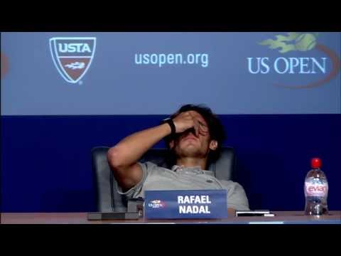 Rafael Nadal Cramps Up During Press Conference | US Open 2011