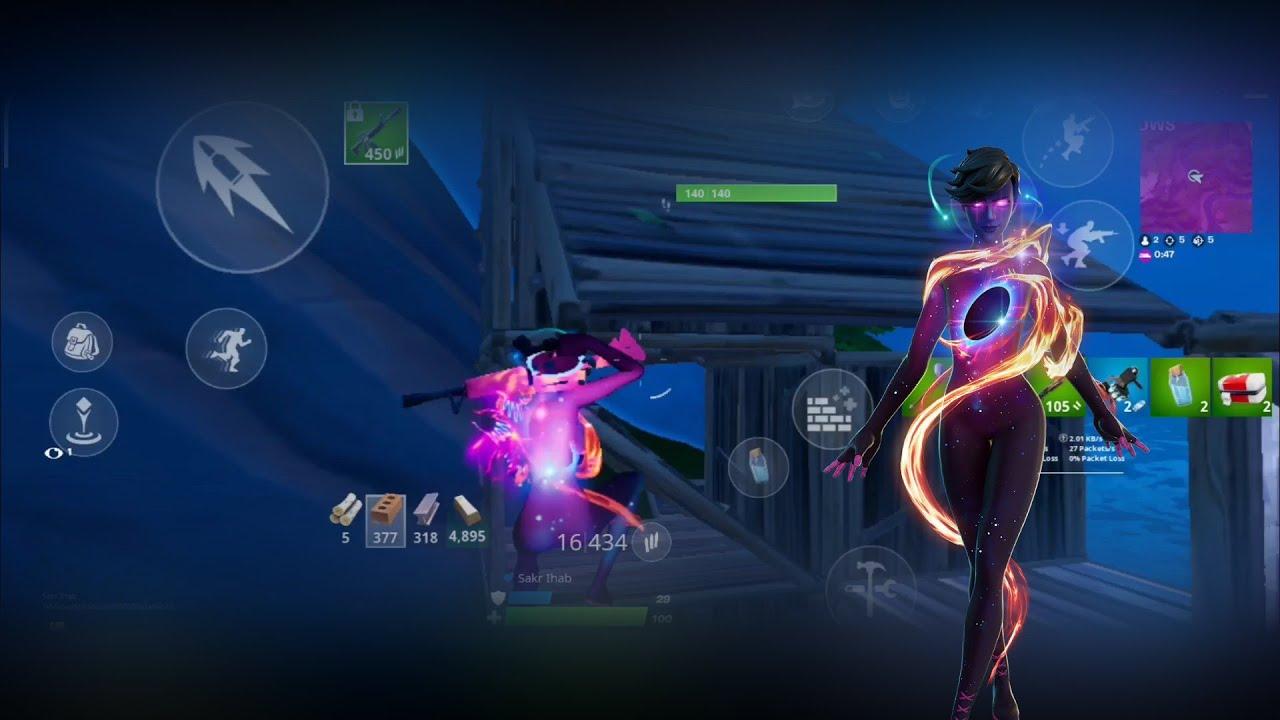 فورت نايت الجوال جيم بلاي بسكن Galaxy Grappler   Fortnite mobile gameplay with Galaxy Grappler skin
