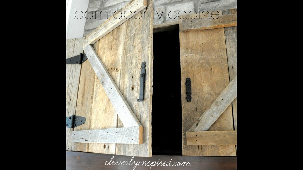 Hide TV above Mantel: Barn door TV cabinet - YouTube