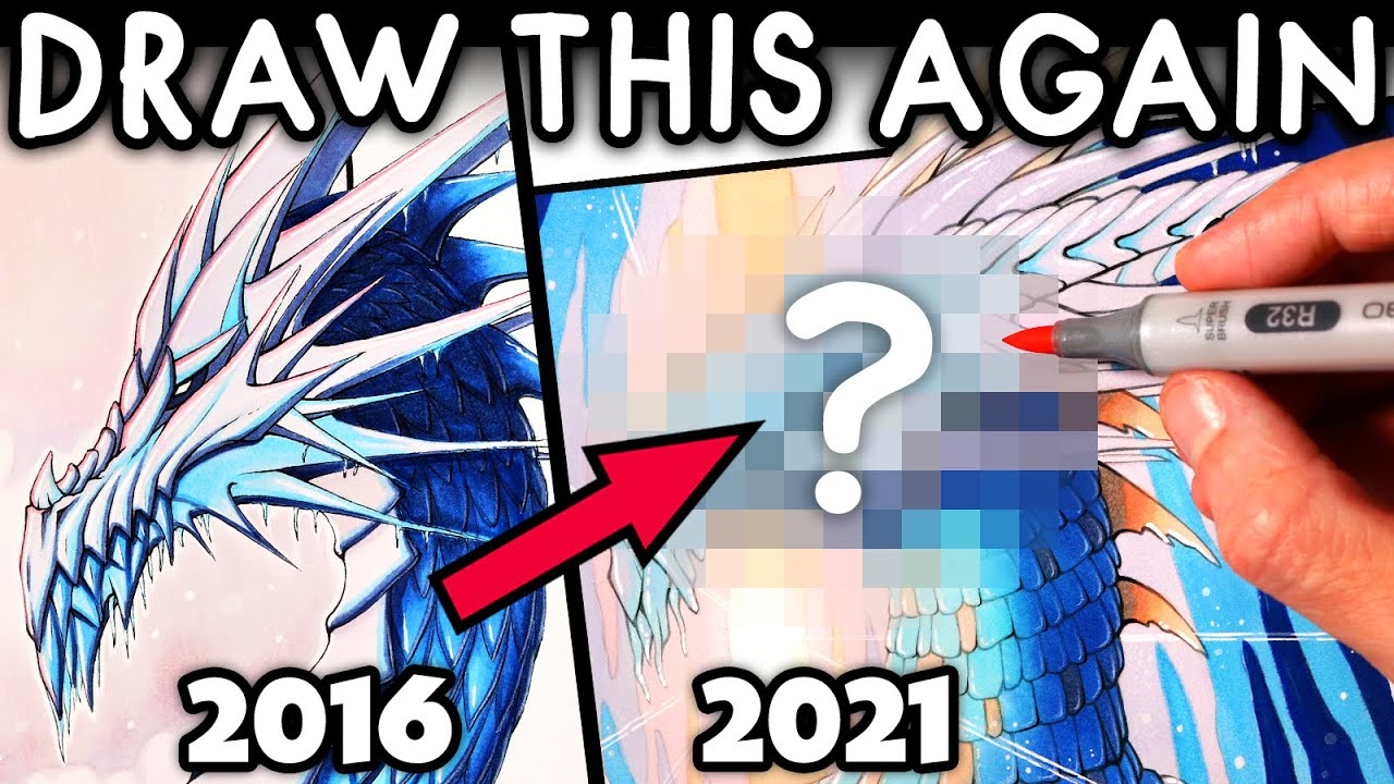 DRAW THIS AGAIN - 5 Years Later - Redrawing an ICE DRAGON