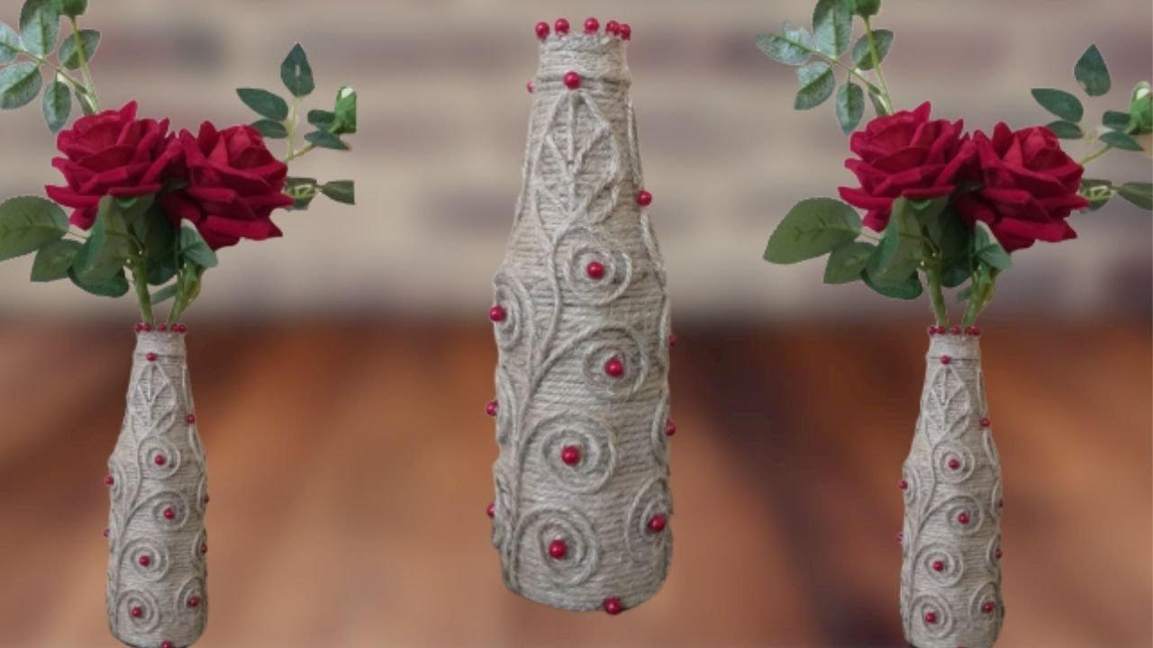 Make Easy Flower Vase With Waste Bottle    Homemade flower vase
