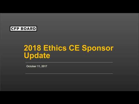 CFP Board Ethics Continuing Education (CE) Sponsor Update: October 2017