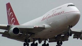 Crosswind landing!! D-ACGD Air Cargo Germany Boeing 747-412 Narita Airport