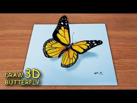 Menggambar Kupu Kupu 3d How To Draw A Butterfly Youtube