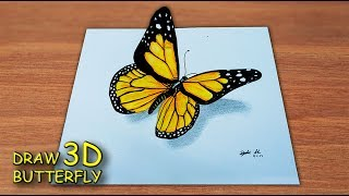 Menggambar Kupu Kupu 3D / How To Draw a Butterfly