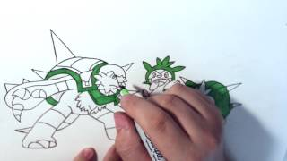 Speed Drawing Pokemon Chespin, Quillandin, AND Chesnaught