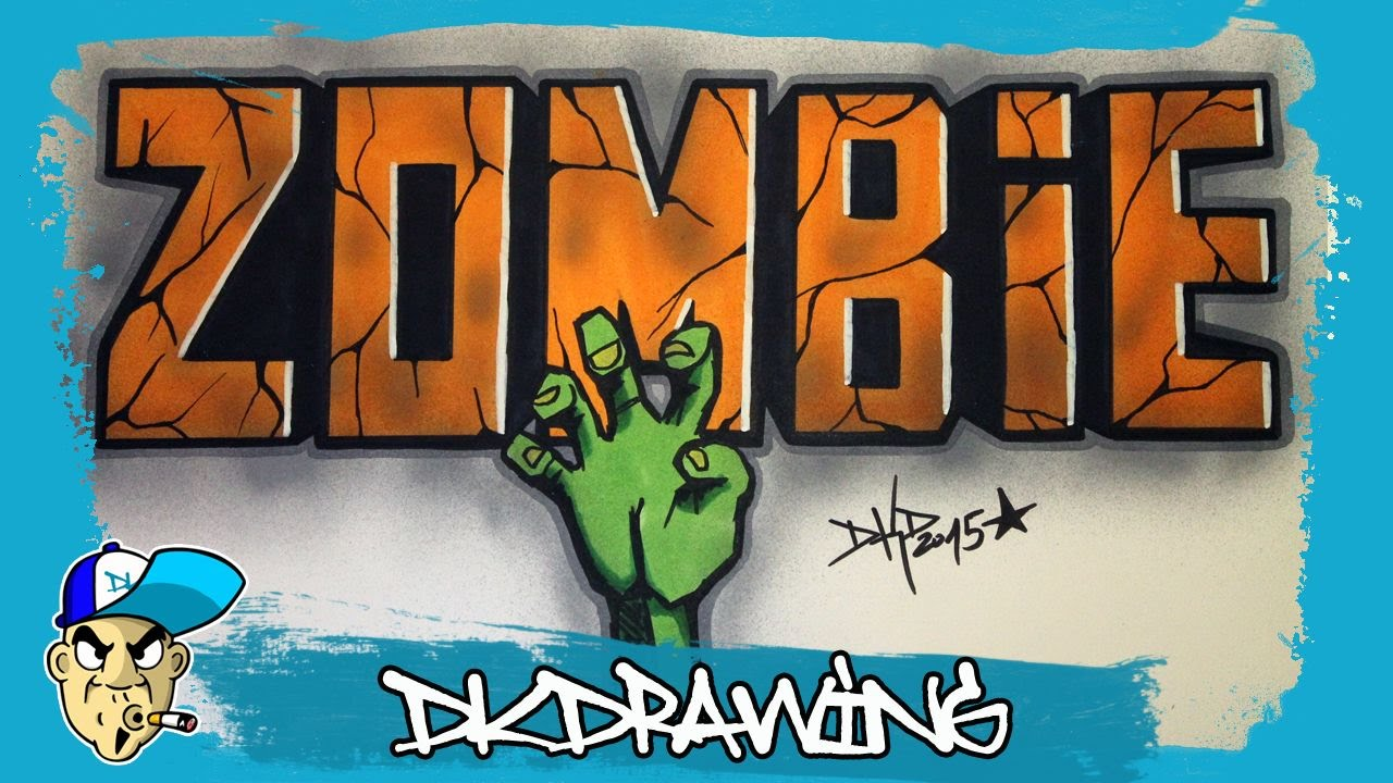 How To Draw Simple Graffiti Letters Zombie Halloween Special  Youtube