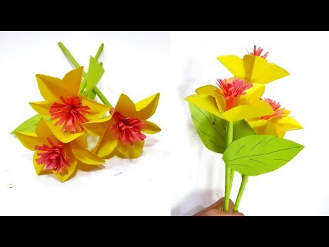 DIY- How to make Beautiful Paper Stick Flower | paper flower | stick flower | 2019