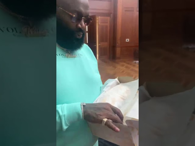 Rick Ross Receives Dame 7 Shoes