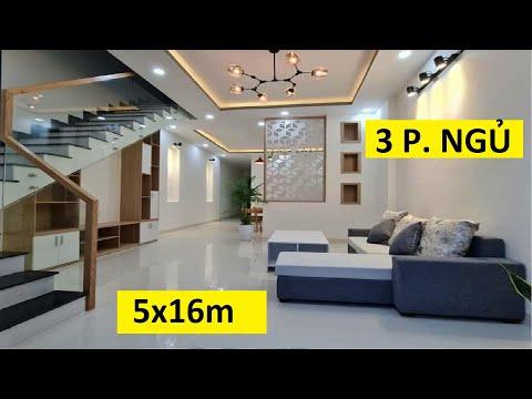 Nhà 1 trệt 1 lầu thiết kế 3 phòng ngủ | 5x16m