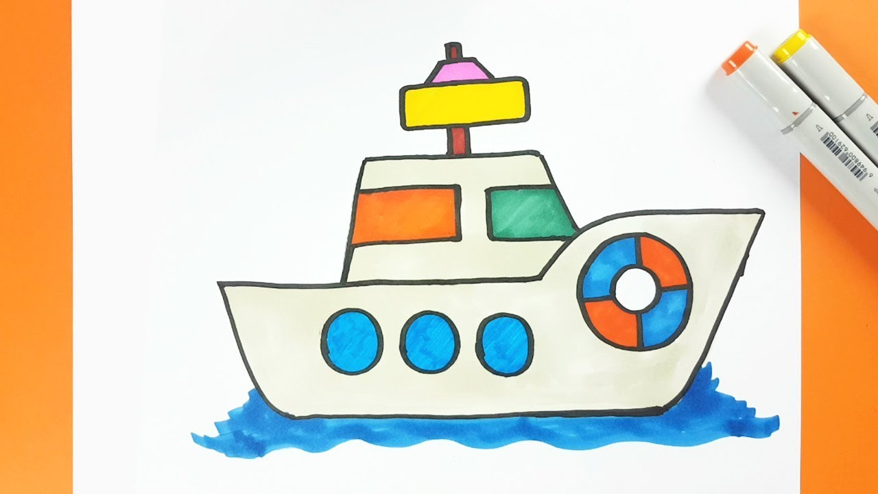 How To Draw A Cartoon Ship And Color Easily Step By Step