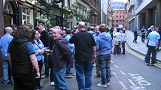 Manchester City fans outside the Vine