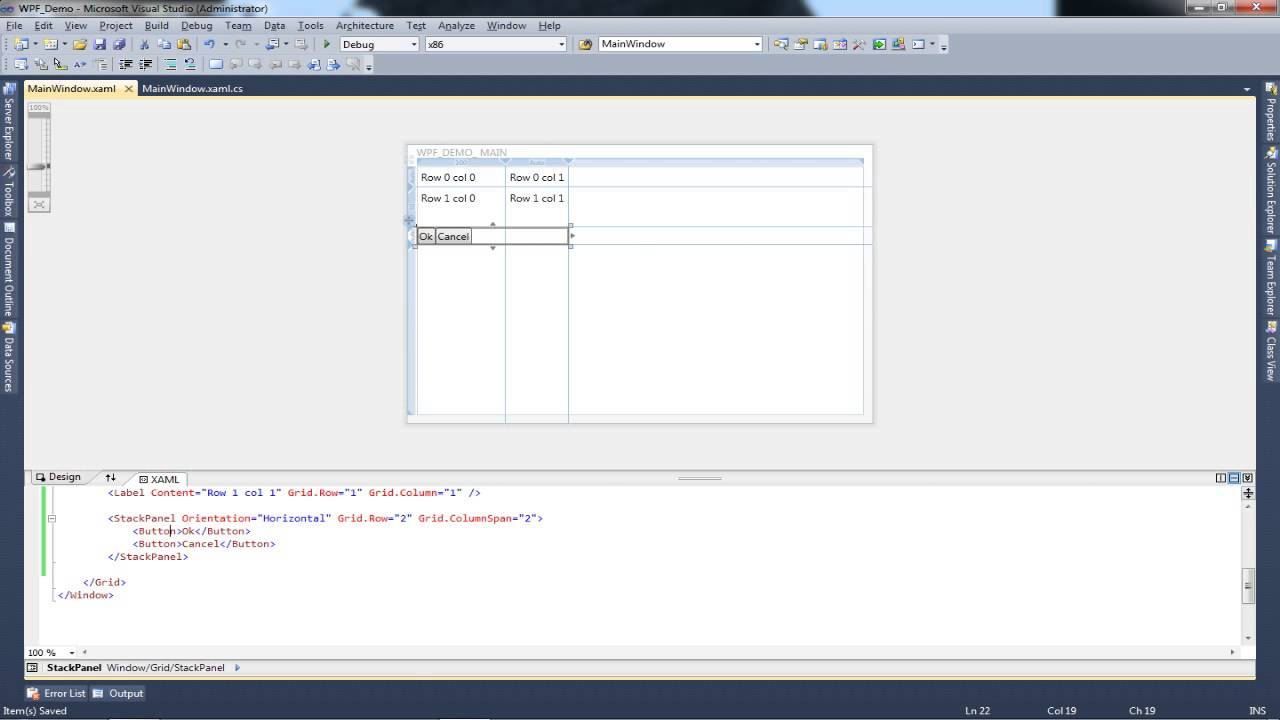 Tutorial WPF Application (C#) | Using the Stack Layout | Design Basics |  Layouts