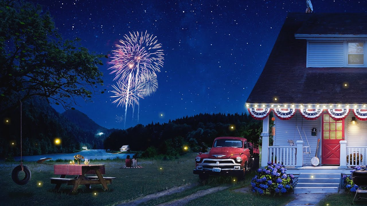 Relaxing 4th of July Ambience: Summer Night with Distant Fireworks, Crickets, and Fireflies