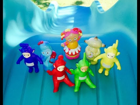 Big Yellow Slide With Teletubbies Toys And Learning Letter