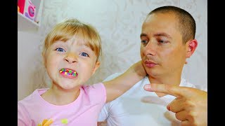 Lera and Margarita  Baby with colorful teeth